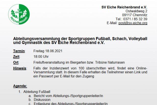 Abteilungsversammlung der Sportgruppen Fußball, Schach, Volleyball und Gymnastik am 18.06.2021